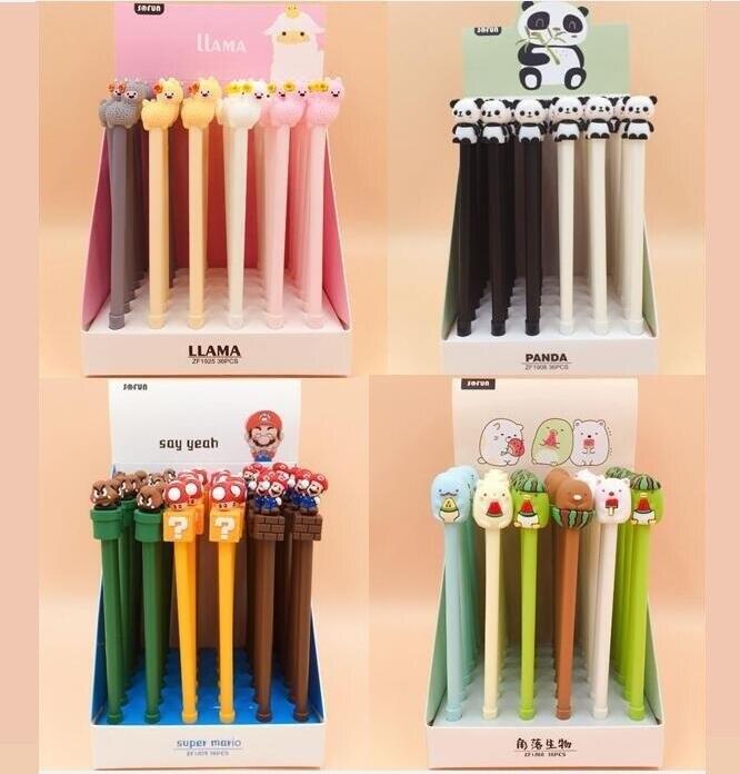 36pcs/pack Super Mario Mushroom Panda Alpaca Groot Anime Creative Stationery Cute Gel Pen Roller Water Pen Students Prize Gift Pure And Mild Flavor Office & School Supplies