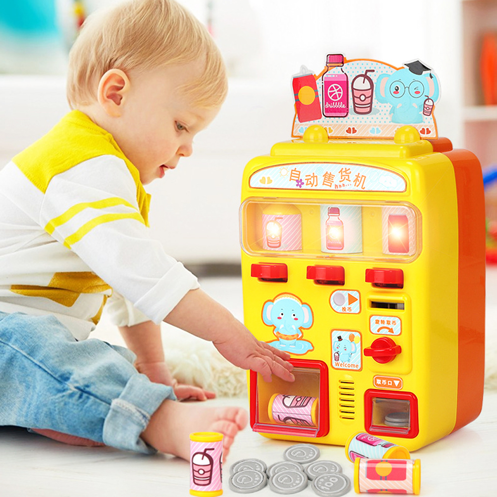 Simulation Automatic Talking Vending Machine Toys Kids Pretend Play Beverage Shopping Toys Gift for Children