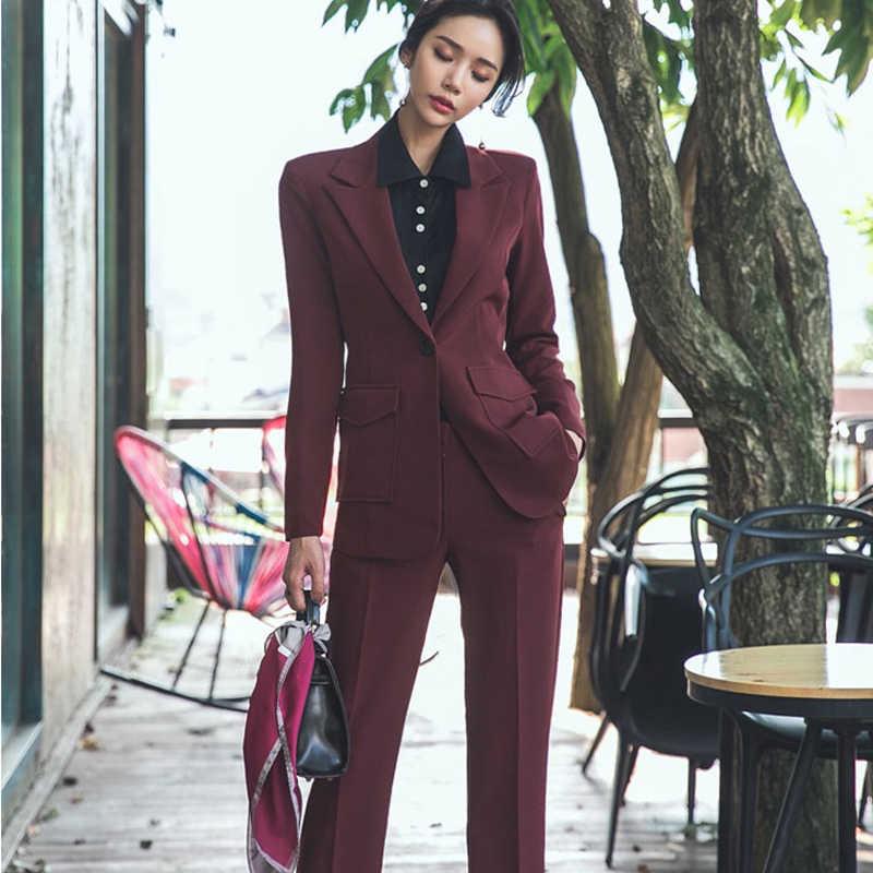 BGTEEVER オフィスの女性の女性パンツスーツ 1 ボタンポケットブレザー & ペンシルパンツ仕事ビジネス女性 2 ピースセット 2018 秋