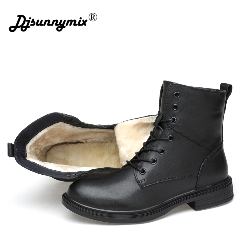 DJSUNNYMIX Brand Big size Unisex Men Ankle Boots Casual Men genuine Leather Autumn winter slip on martin Boots military shoes