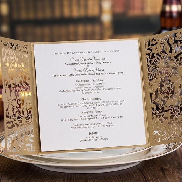 50pcs Pack Customized Chagne Gold Hollow Flower Wedding Invitation Card With Envelope Birthday Cards Free