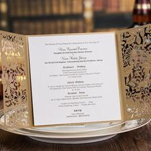 50pcs/pack Customized Champagne Gold Hollow Flower Wedding Invitation Card with Envelope Birthday Cards Free Printing