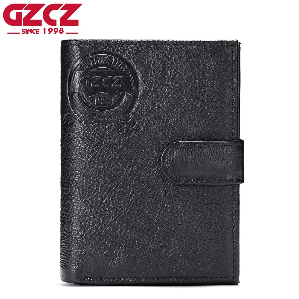 GZCZ Genuine Leather Wallet Men Luxury Brand Male Clutch Clamp For Money Bag Man Vallet Portomonee Travel Walet RFID Blocking
