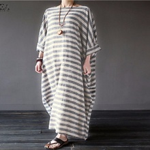 women do old cotton-and-hemp striped robes literary and loose long dresses Vintage baggy dress