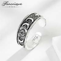 Fancnique 925 Sterling Silver Jewelry Antique Vintage Sun Moon Star Ring Women Tail Ring