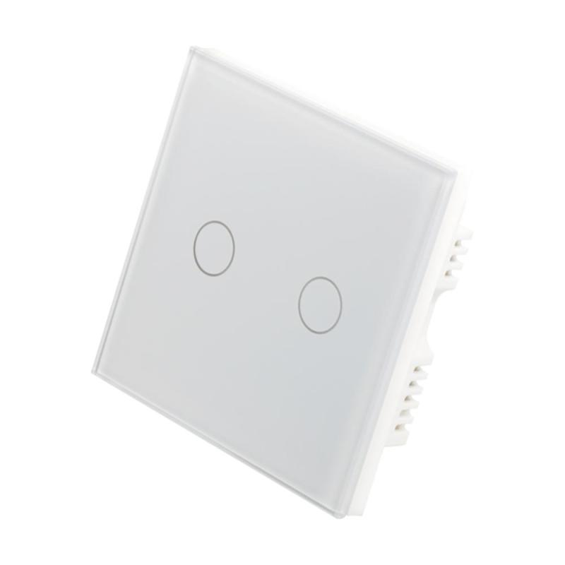 WiFi Smart 2 Channel Light Wall Switch Waterproof Touch Panel w/APP For Amazon Alexa Voice Control Timing Function UK Plug 220V sonoff t1 smart wifi rf app touch control wall light switch 1 2 3 gang 86 type uk panel wall touch light switch alexa nest