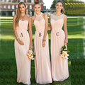 Elegant Three Styles Sexy Backless Long Light Pink Bridesmaid Dress 2017 Halter Pleat Chiffon Peach Cheap vestidos de festa B2