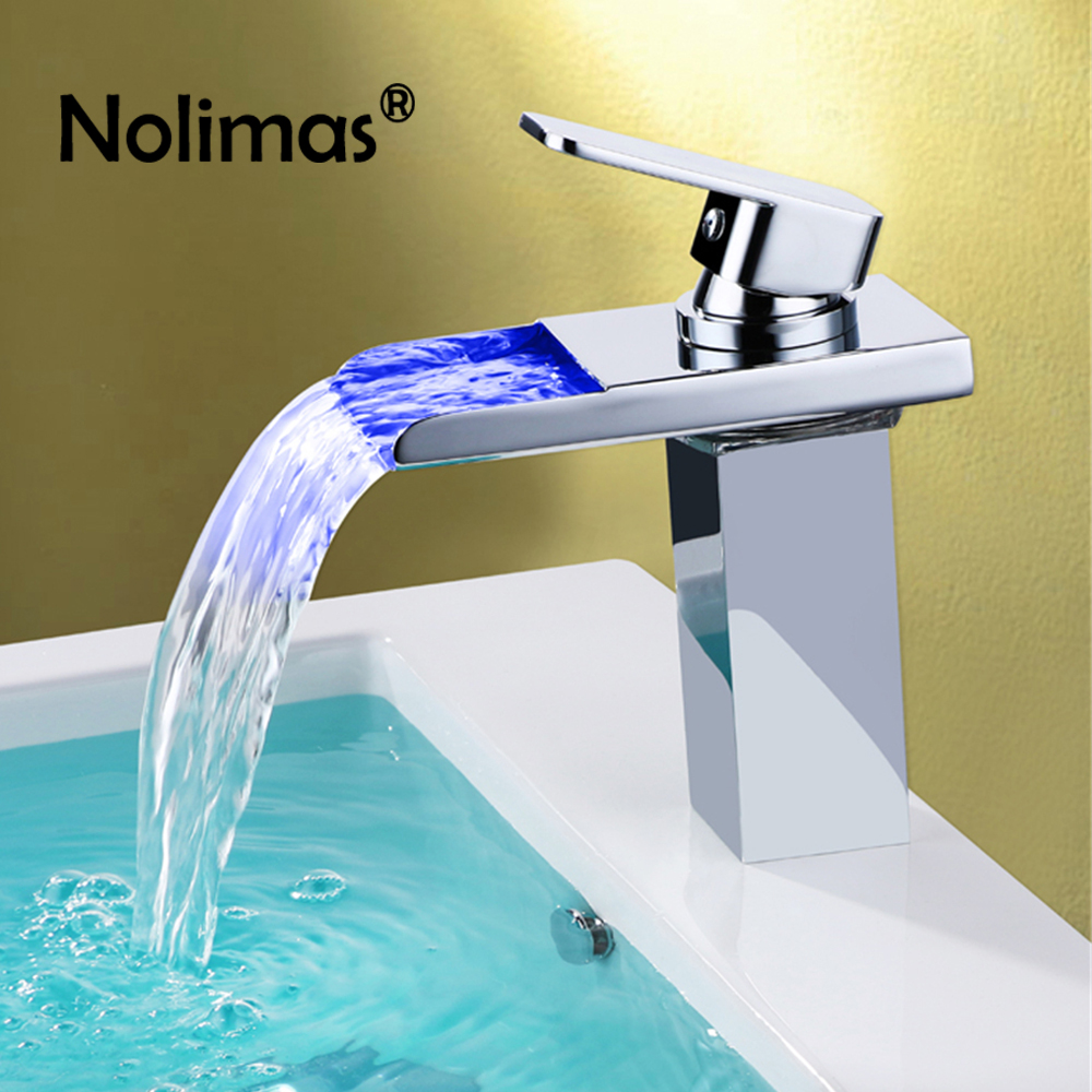 3 Color Changing Led Light Basin Faucet Single Handle Oil-Rubbed Soild Brass Waterfall Basin Mixer Hot Cold Bathroom Water Tap