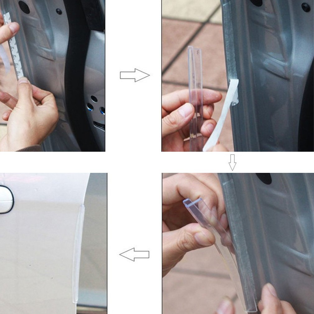 8pcs Car SUV Side Door Edge Protector Protective Strip Scrape Guard Bumper Guards Handle Cover Black White Transparent