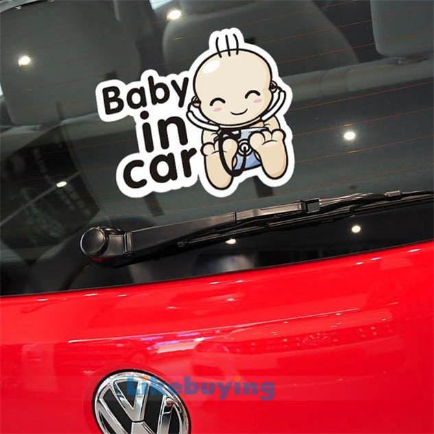 Cute! Good quality! 14cm*12cm Car stickers Baby in car placed in the tail and whole body / car styling reflective free shipping
