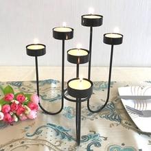 Wrought Iron Candle Holders Christmas China Flower Rack Lantern Centerpieces Candelabra Portavelas Moroccan Decor 50KO207