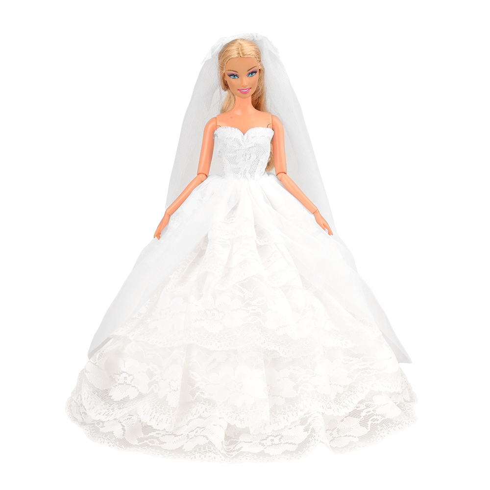 Long Tail Evening Party Wedding White Dress Our Generation Doll Clothes For Barbie Doll Accessories Elegant Handmade Princess