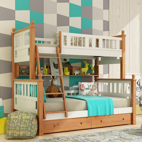 Louis Fashion Double Solid Wood Bunk Bed For Children In Children