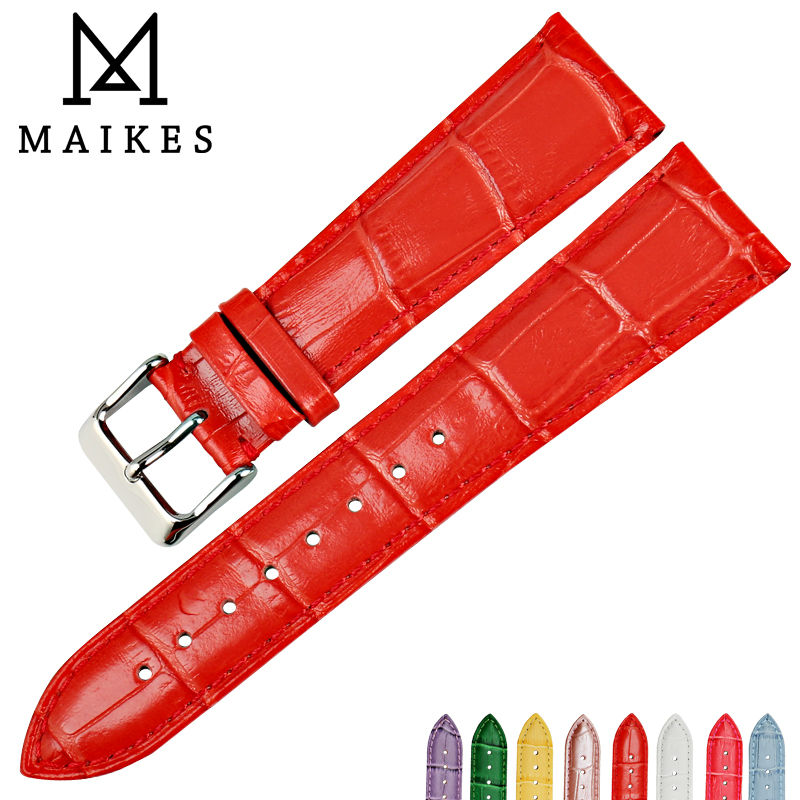MAIKES New watch accessories watch strap red genuine leather 12mm-24mm watch bracelet watchbands case for casio watch band