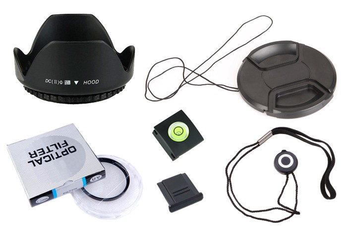 6 in1 49 52 55 58 62 67 72 77 mm lens UV filter + center pinch Snap-on cap cover + lens cap line + lens hood + 2 hot shoe