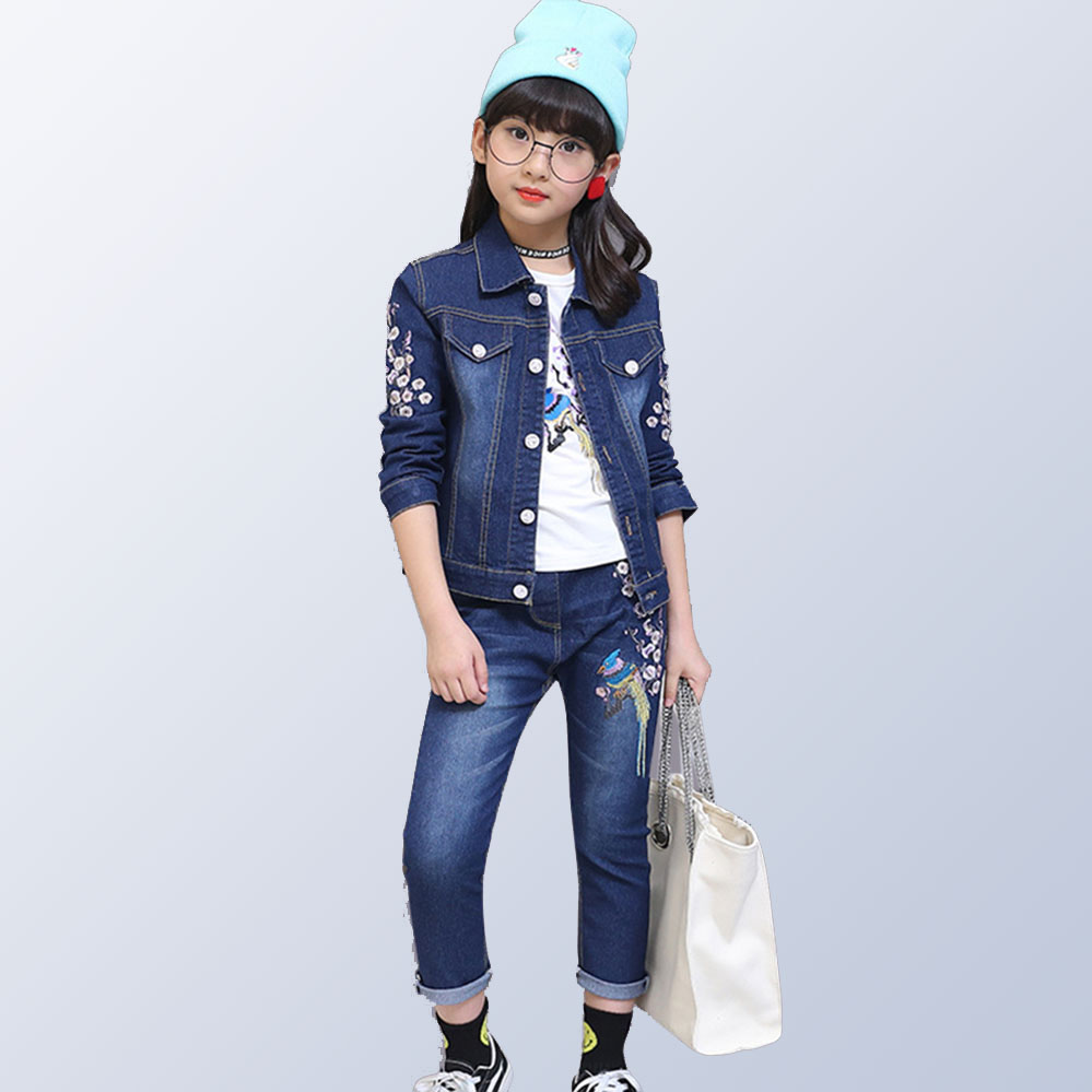 2018 Autumn Winter Denim Kids Clothes Embroidery Floral Jacket+Jeans 2PCS Girls Spring Teenage Girls Clothing 6 8 10 12 Years 2018 autumn winter denim kids clothes embroidery floral jacket jeans 2pcs girls spring teenage girls clothing 6 8 10 12 years