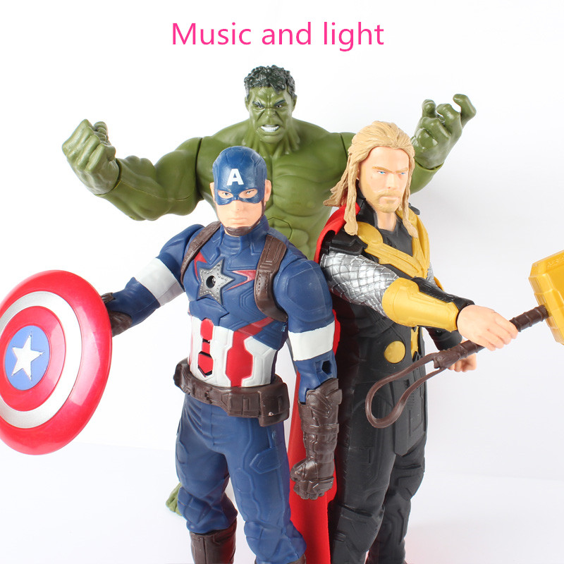 12inch 2017 New Movie Music Light Avengers <font><b>Action</b></font> Figure Super Heros Captain America Ironman Thor Hulk Model Toys Gifts