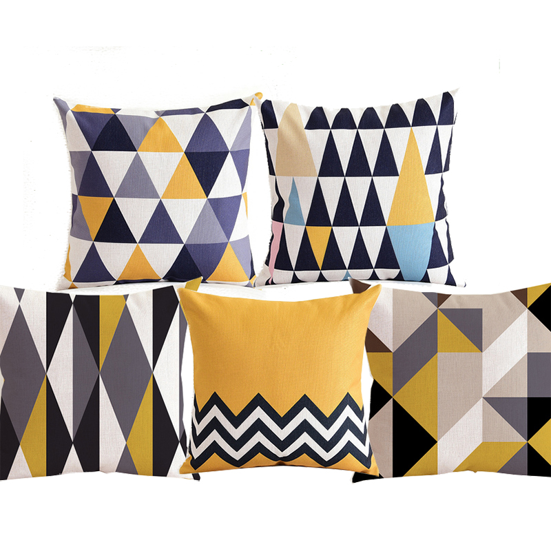 Table & Sofa Linens Modern Geometric Cushion Covers Black Yellow Triangles Wavy Stripe Thick Linen Cotton Pillow Covers 45x45cm 30x50cm Sofa Decor Home Textile