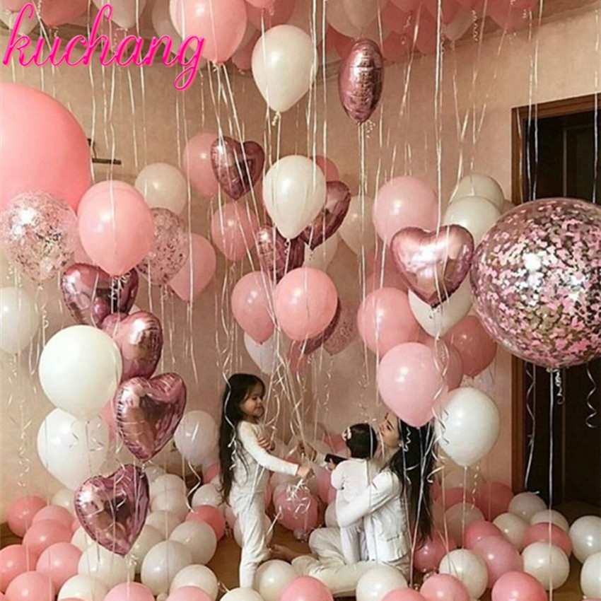 Confetti Balloon Toys Wedding-Decoration Rose-Gold Birthday-Party Pink White Baby 18inch