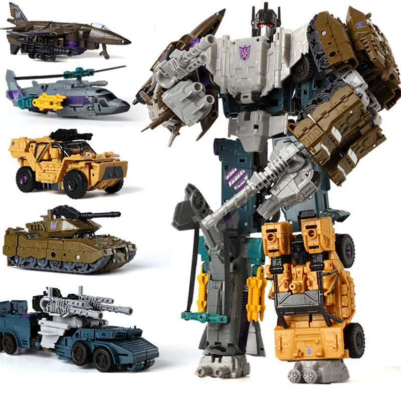 Haizhixing 5 IN 1 Transformation Robot Car Toys Anime Devastator Aircraft Tank Model KO Toy Boys Truck Collection Kid Adult Toy