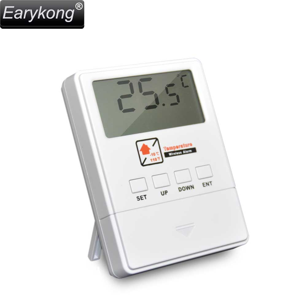 NEW Earykong Temperature Detector 433MHz Wireless, With LCD Screen, 1527 Chips, Real-time Display, For Home Burglar Alarm System new wired temperature adjustable detector for all the alarm system low high temperature alarm function led display alarm sensors
