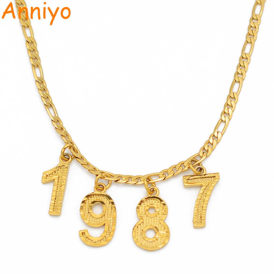 English Number Chokers Necklaces Birthday Gift Personalized Birth Year Necklaces Women Men Mom Custom Digital Jewelry #209506