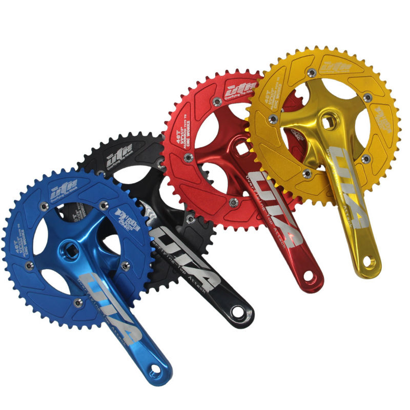Red Fixed gear Single Speed Track Cranks Crankset 165mm 46t Silver
