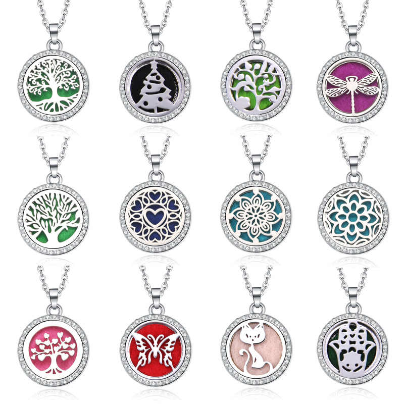 Tree Hollow Out Aromatherapy Diffuser Necklace Jewelry Perfume Locket Pendant Essential Oil Scent Locket Necklace With Pads