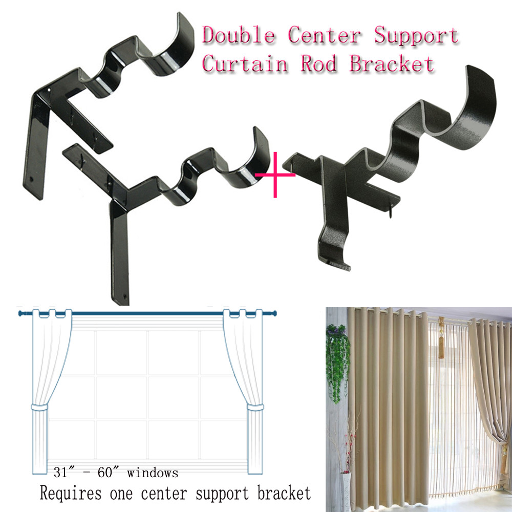 hang double center support curtain rod bracket into window frame rod bracket curtain rod bracket