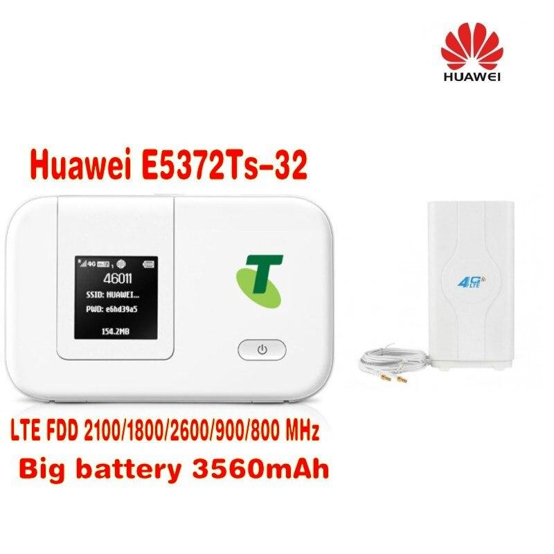 Unlocked Huawei E5372T E5372TS-32 150M 4G LTE FDD Mobile Router wireless WIFI hotspot plus with 49dbi 4g antenna original unlocked huawei e3372 m150 2 lte fdd 150mbps 4g lte modem support lte fdd 800 900 1800 2100 4g crc9 49dbi dual antenna
