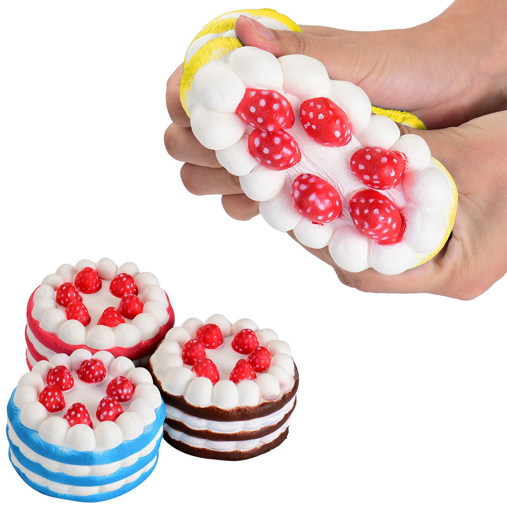 Children Cute Strawberry Cake Bread Super Squishy Anti-stress Slow Rising Jumbo Scented Rising Soft Kid Toy Stress Relieve Gift