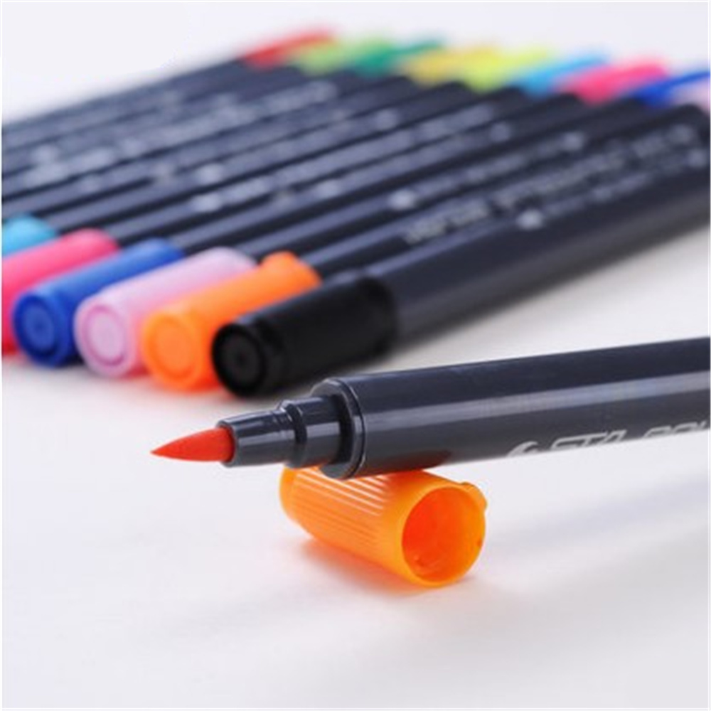 US $21.65  Double head Coloring Brush Pen 12 Color Set Flexible Brush  Marker Water Color Pen Liquid Ink Painting Supplies-in Marker Pens from  Office & ...