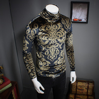 Poleras Hombre Autumn New Thick Men T Shirt Plus Size Fashion Turtleneck T Shirt Men Long
