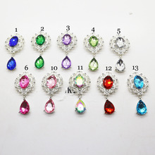 wholesale 5pcs / lot, metal rhinestone button, 29mm x 57mm, silver plated pink, Flat back brooch decoration accessories.