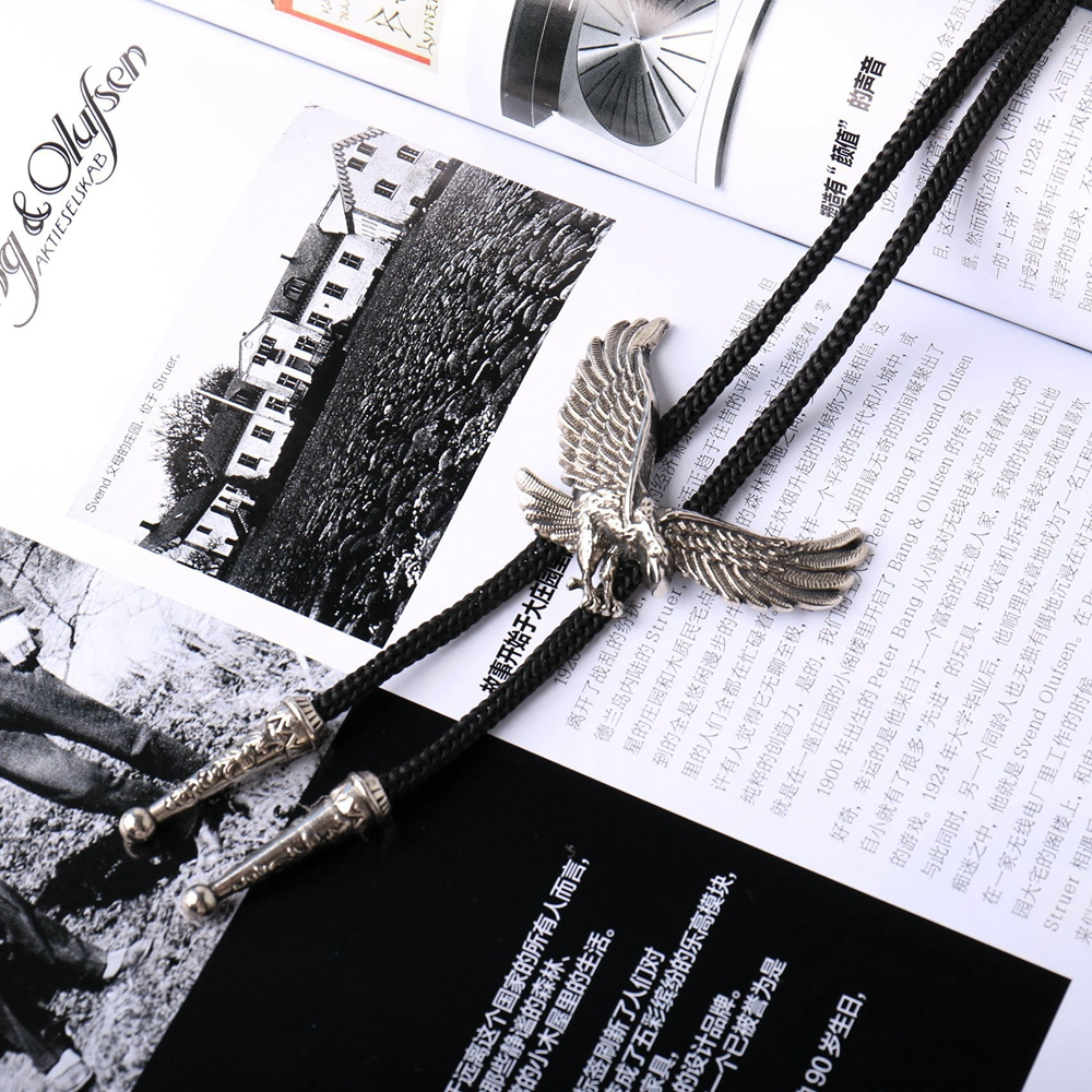 Fashion Indian Eagle Pendant Bolo Tie Western Cowboy Bootlace Animal Necktie Tie Necklace Jewelry For Men SYT9388