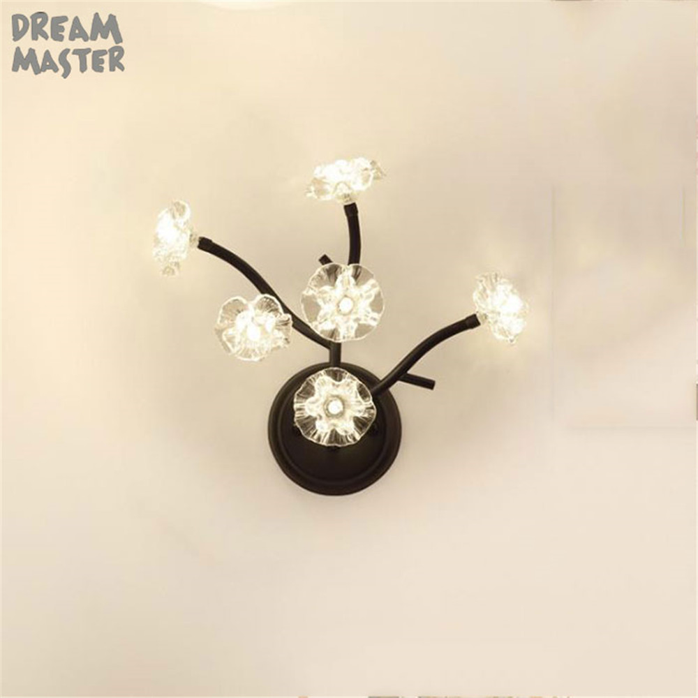 Black LED glass wall lamp Flower wall light Luminaria home lamp Modern wall mount chandeliers G4 Art Lighting Indoor Decoration led crystal wall lamp flower wall light luminaria home lamps bathroom mirror front lights modern art lighting indoor decoration