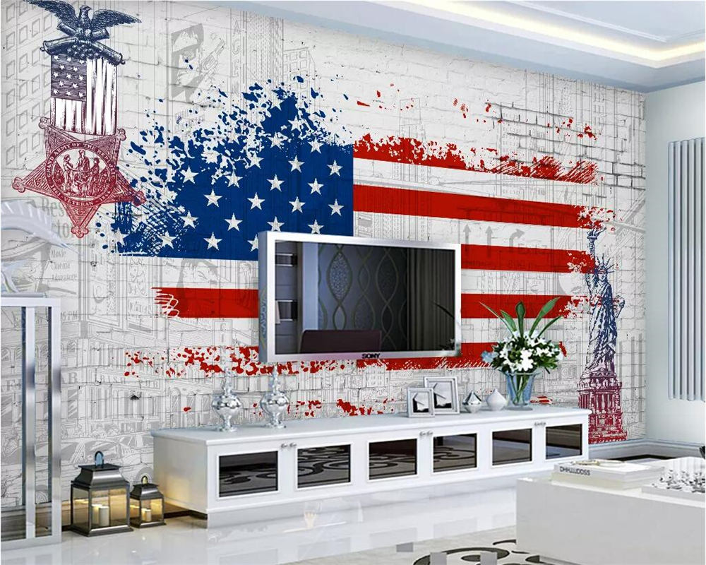Us 8 85 41 Off Beibehang Custom Wallpaper Retro American Flag Graffiti Tv Background Walls Home Decor Living Room Bedroom Mural In