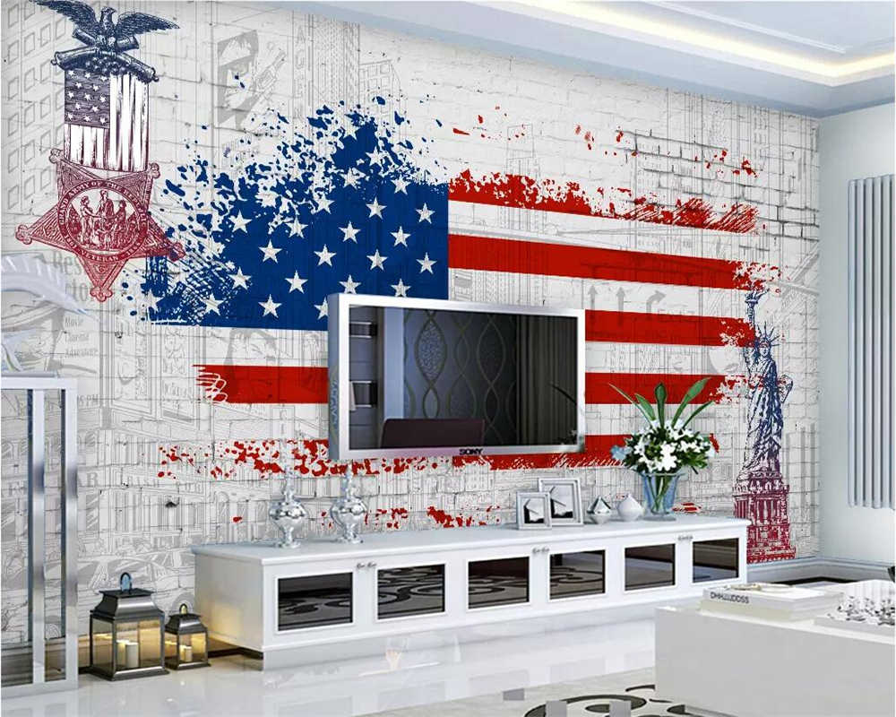 Beibehang Custom Wallpaper Retro American Flag Graffiti Tv