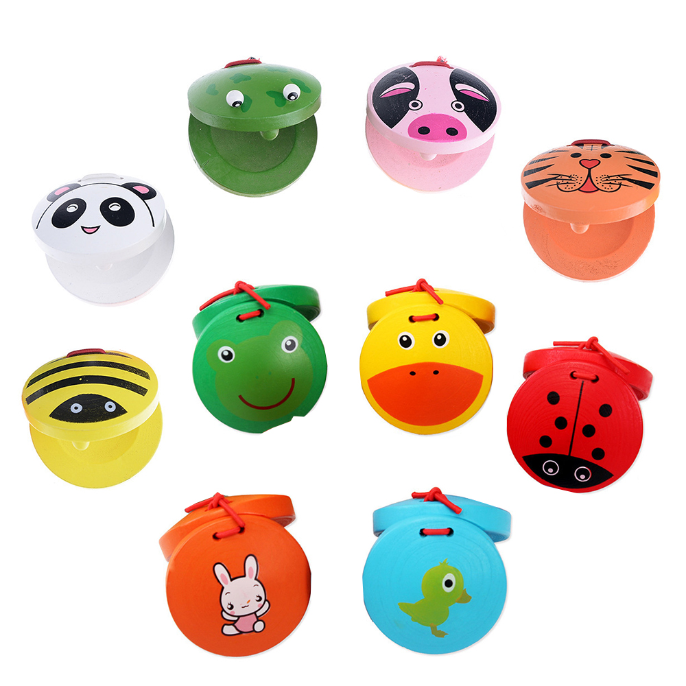 1 Piece Educational Cartoon Castanets Kids Baby Wooden Castanet Clapper Handle Musical Instrument Toy Preschool Early Toy