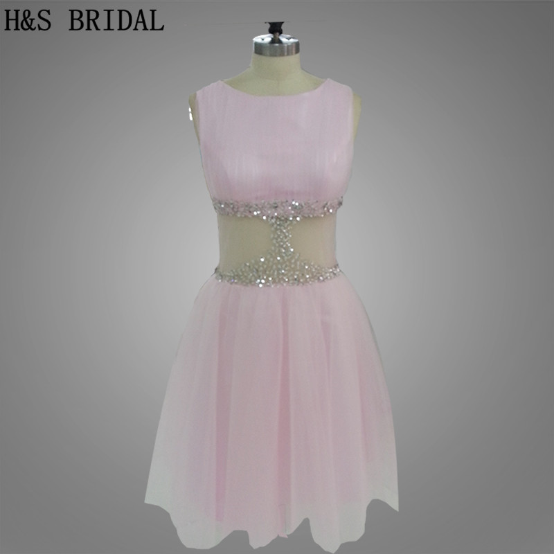 H&S BRIDAL Real Model Pink color Tulle short prom   dress   Waist see through beading sexy   cocktail     dresses