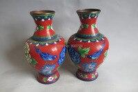 Редкие династии цин клуазонне вазы, Bird и цветок, Наедине с китайский характеристики, A пара
