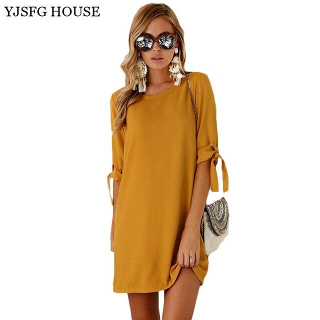 53537ee441 Yjsfg casa sólido amarillo otoño media manga Oficina Vestidos corta  ocasional vestidos sexy camiseta suelta vestido