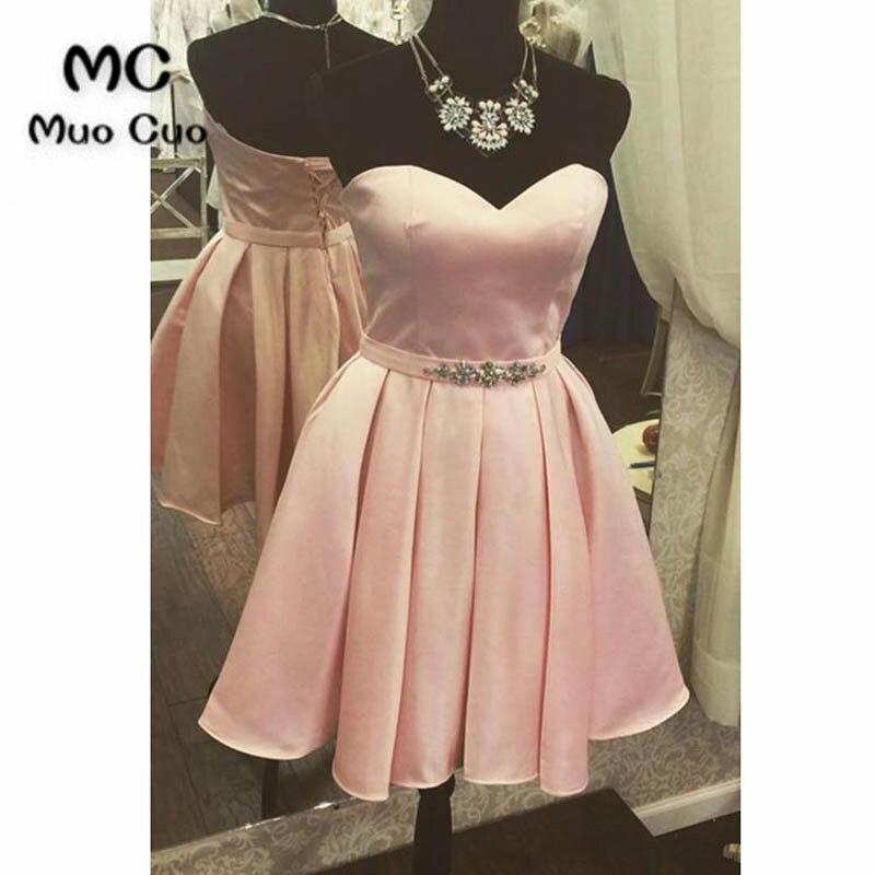 2018 Blush Pink Homecoming Dress Con Perline Pizzo Su Indietro Raso Party Dress Sopra Il Ginocchio Corto Vestito Homecoming Alta Qualità E Basso Sovraccarico