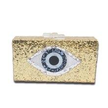 Augen Drucken Glänzende Acryl Gold Abend Clutch Bag Box Für Frauen Hochzeit Mode Handtaschen Kette Umhängetasche Messenger Bags