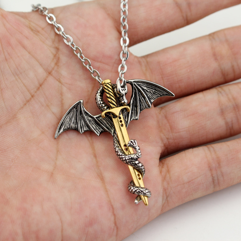 Men Necklace Sword Dragon Personality Jewelry Metal Pendants Necklaces link chain necklace collier 50cm