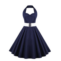 Plus Size Cotton Dress Hepburn Style Summer Autumn Halter 50s Polka Dot Big Swing Belted