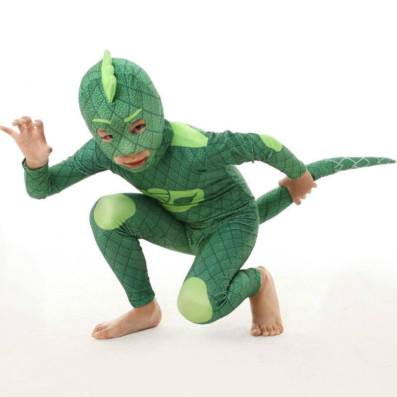24hrs отправлены 2018 Les pyjamasques Косплей PJ Hero зеленый костюм платье для дня рождения комплект для Хэллоуина Костюм для детей
