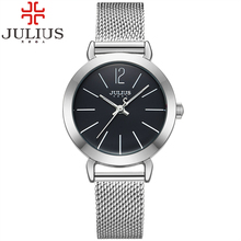 2016 New Julius Women's Lady Thin Wrist Watch Quartz Hours Steel Classic OL Bracelet Watches Women Lover's Girl Birthday Gift