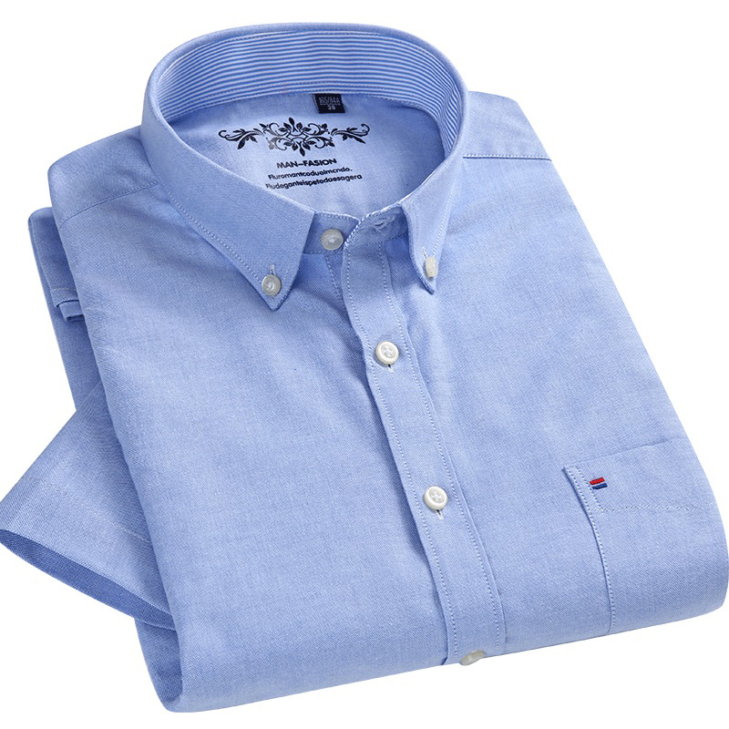 Men's Regular-fit Short Sleeve Solid Oxford Shirts Patch Single Chest Pocket Breath Comfortable Quality Button-down Dress Shirt