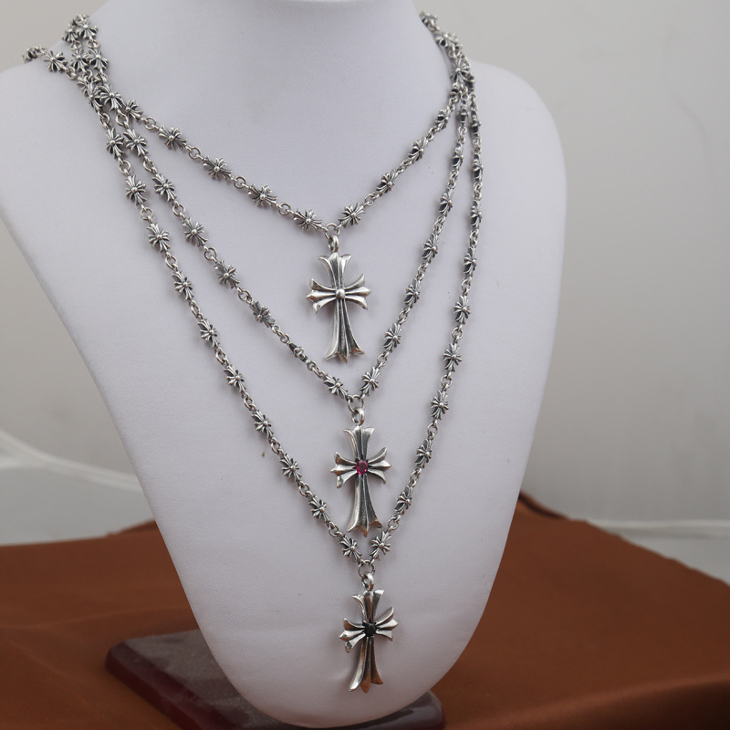 Fashion S925 Sterling Silver Jewelry Retro Thai Silver Cross Sweater Long Chain Necklace Men And Women s925 sterling silver silver bracelet retro fashion jewelry made of old men and women